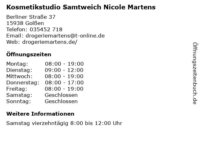 Kosmetikstudio Samtweich Nicole Martens in Golßen: Adresse und Öffnungszeiten