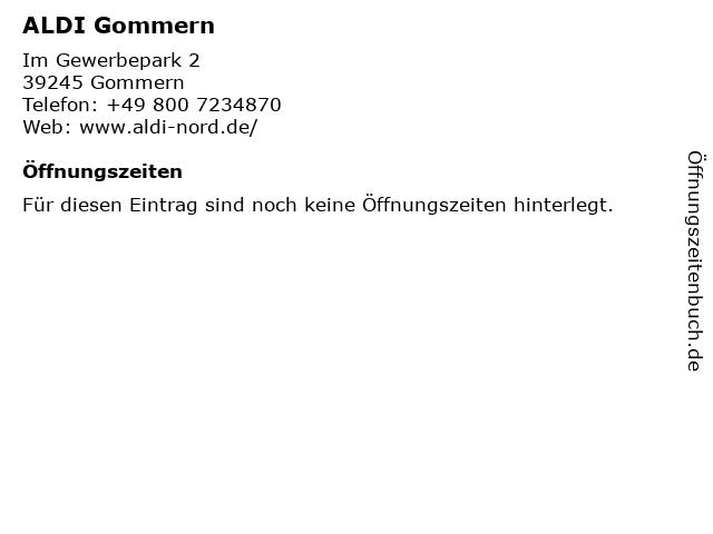 ALDI Nord in Gommern: Adresse und Öffnungszeiten