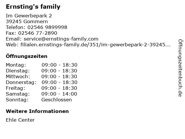 Ernsting's family GmbH & Co. KG in Gommern: Adresse und Öffnungszeiten