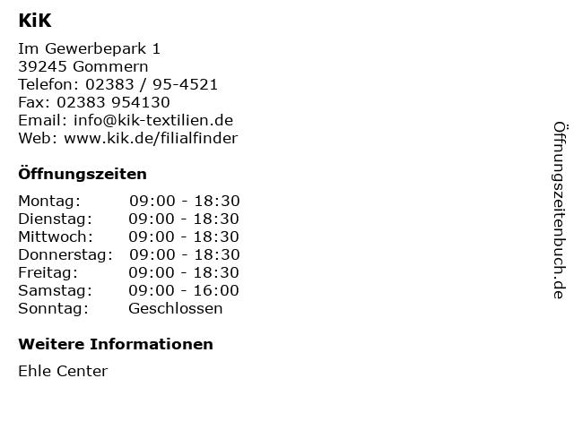 KiK Textilien & Non-Food GmbH in Gommern: Adresse und Öffnungszeiten