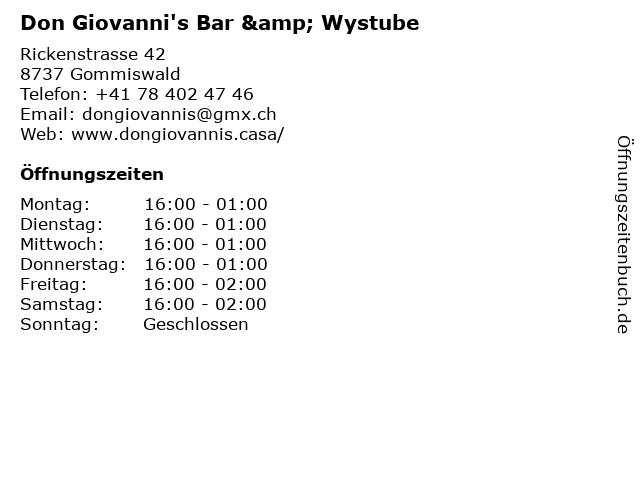 Don Giovanni's Bar & Wystube in Gommiswald: Adresse und Öffnungszeiten