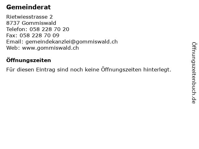 Gemeinderat in Gommiswald: Adresse und Öffnungszeiten