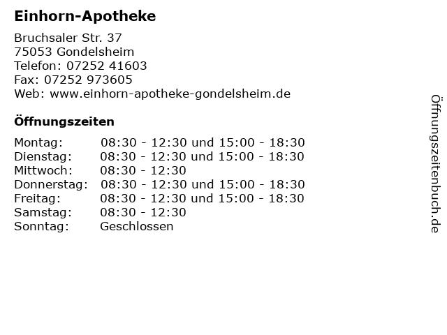 Einhorn-Apotheke in Gondelsheim: Adresse und Öffnungszeiten