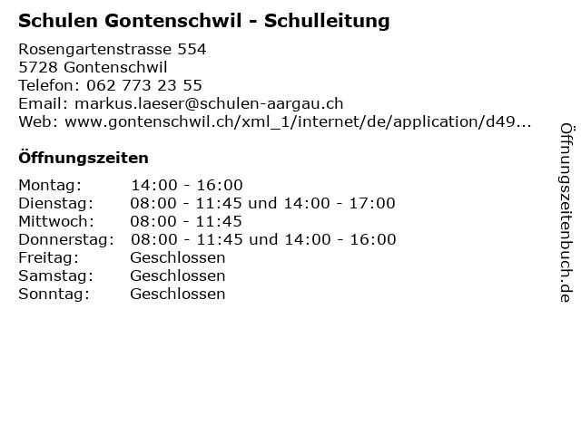 Schulen Gontenschwil - Schulleitung in Gontenschwil: Adresse und Öffnungszeiten