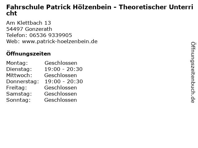 Fahrschule Patrick Hölzenbein - Theoretischer Unterricht in Gonzerath: Adresse und Öffnungszeiten