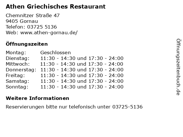 Athen Griechisches Restaurant in Gornau: Adresse und Öffnungszeiten