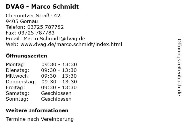 DVAG - Marco Schmidt in Gornau: Adresse und Öffnungszeiten