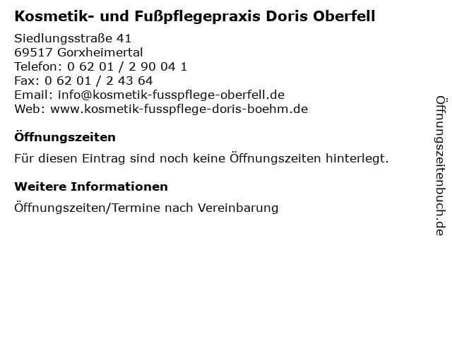 Kosmetik- und Fußpflegepraxis Doris Oberfell in Gorxheimertal: Adresse und Öffnungszeiten