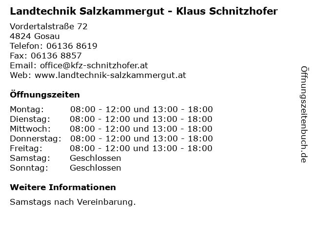 Landtechnik Salzkammergut - Klaus Schnitzhofer in Gosau: Adresse und Öffnungszeiten