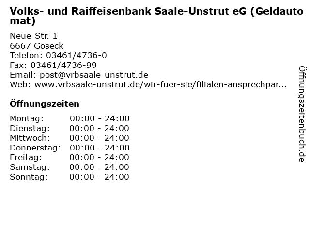 Volks- und Raiffeisenbank Saale-Unstrut eG (Geldautomat) in Goseck: Adresse und Öffnungszeiten