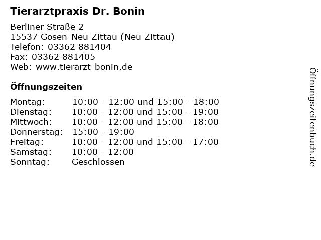 Tierarztpraxis Dr. Bonin in Gosen-Neu Zittau (Neu Zittau): Adresse und Öffnungszeiten