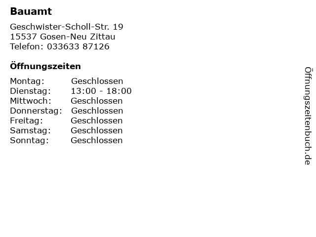 Bauamt in Gosen-Neu Zittau: Adresse und Öffnungszeiten