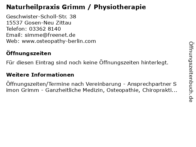 Naturheilpraxis Grimm / Physiotherapie in Gosen-Neu Zittau: Adresse und Öffnungszeiten