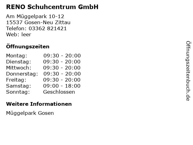 RENO Schuhcentrum GmbH in Gosen-Neu Zittau: Adresse und Öffnungszeiten