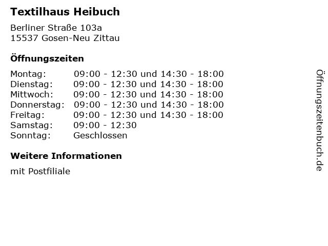 Textilhaus Heibuch - Deutsche Post Filiale in Gosen-Neu Zittau: Adresse und Öffnungszeiten