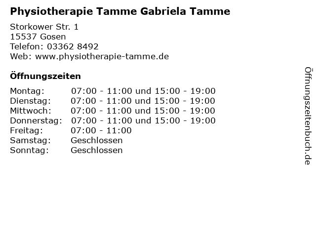 Physiotherapie Tamme Gabriela Tamme in Gosen: Adresse und Öffnungszeiten