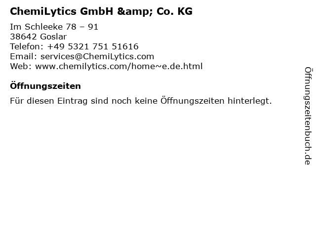 ChemiLytics GmbH & Co. KG in Goslar: Adresse und Öffnungszeiten