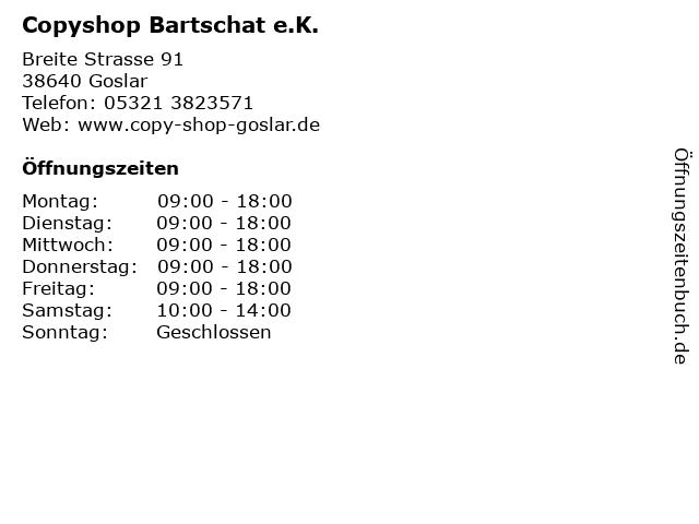 Copyshop Bartschat e.K. in Goslar: Adresse und Öffnungszeiten