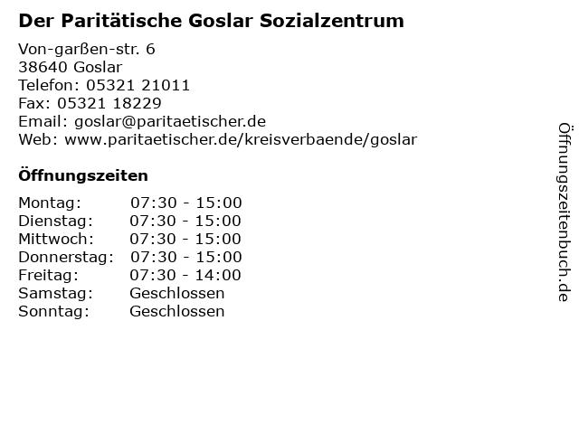 Paritätischer Wohlfahrtsverband Niedersachsen e.V. in Goslar: Adresse und Öffnungszeiten