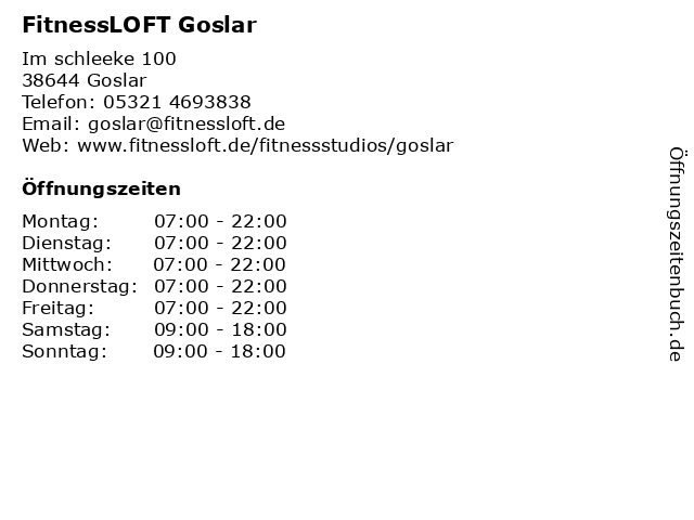 FitnessLOFT Goslar in Goslar: Adresse und Öffnungszeiten