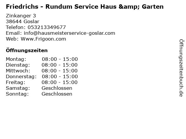 Friedrichs - Rundum Service Haus & Garten in Goslar: Adresse und Öffnungszeiten