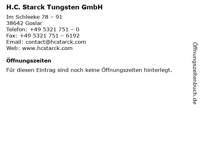 H.C. Starck Tungsten GmbH in Goslar: Adresse und Öffnungszeiten