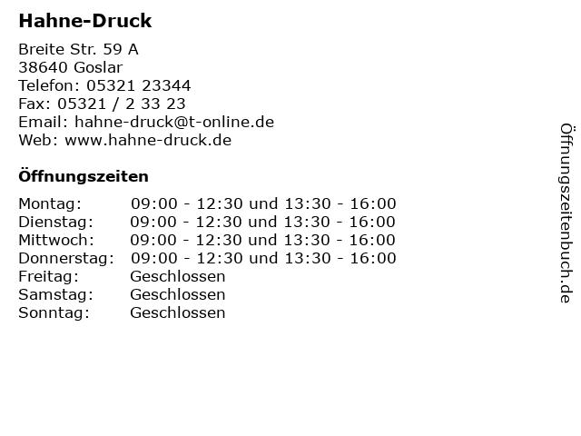 Hahne-Druck in Goslar: Adresse und Öffnungszeiten