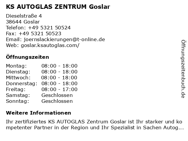 KS AUTOGLAS ZENTRUM Goslar in Goslar: Adresse und Öffnungszeiten