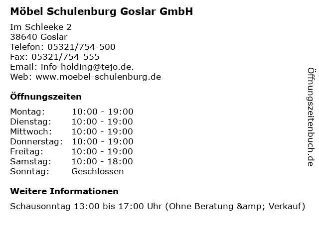 ᐅ öffnungszeiten Möbel Schulenburg Goslar Gmbh Im Schleeke 2 In