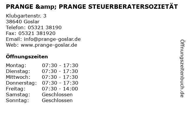PRANGE & PRANGE STEUERBERATERSOZIETÄT in Goslar: Adresse und Öffnungszeiten