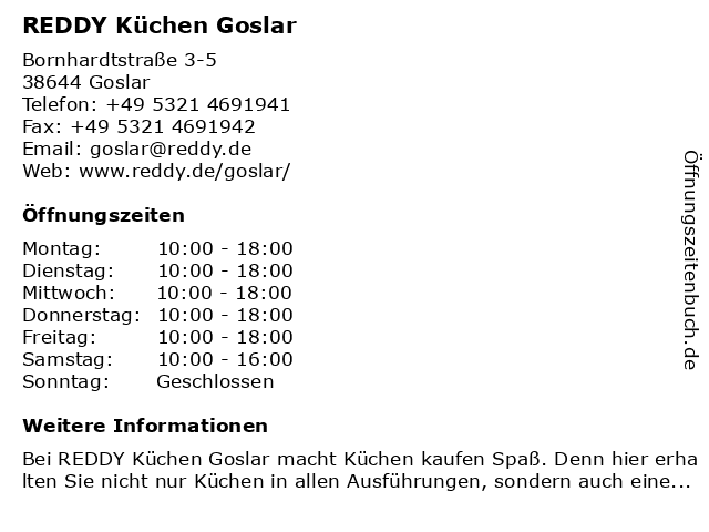 ᐅ Offnungszeiten Reddy Kuchen Goslar Bornhardtstrasse 3 5 In Goslar