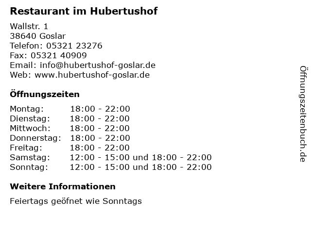 Restaurant im Hubertushof in Goslar: Adresse und Öffnungszeiten