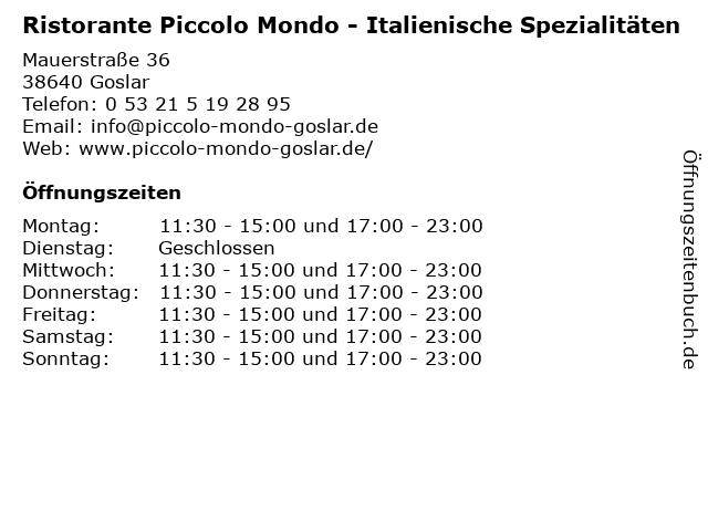 Ristorante Piccolo Mondo - Italienische Spezialitäten in Goslar: Adresse und Öffnungszeiten
