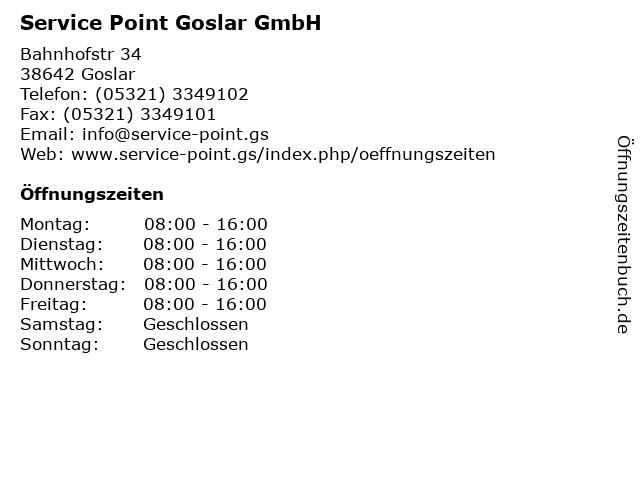 Service Point Goslar GmbH in Goslar: Adresse und Öffnungszeiten