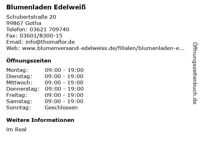 Blumenladen Edelweiß in Gotha: Adresse und Öffnungszeiten