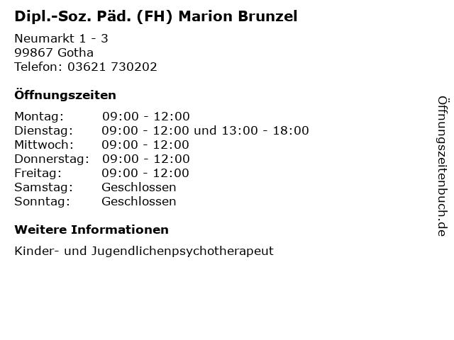 Dipl.-Soz. Päd. (FH) Marion Brunzel in Gotha: Adresse und Öffnungszeiten