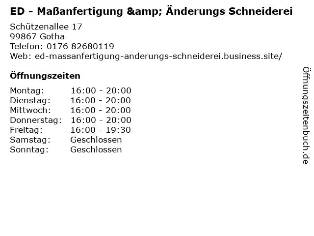 ED - Maßanfertigung & Änderungs Schneiderei in Gotha: Adresse und Öffnungszeiten