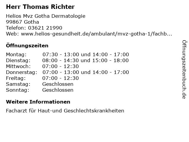 Herr Thomas Richter in Gotha: Adresse und Öffnungszeiten
