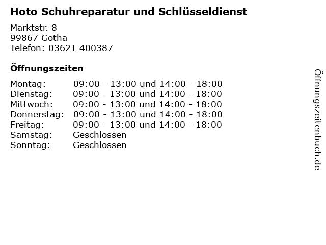 Hoto Schuhreparatur und Schlüsseldienst in Gotha: Adresse und Öffnungszeiten