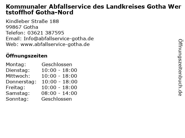 Wertstoffhof Gotha-Nord in Gotha: Adresse und Öffnungszeiten