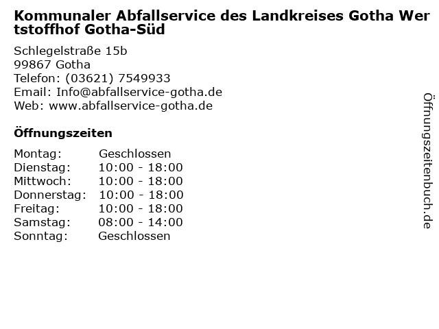 Wertstoffhof Gotha-Süd in Gotha: Adresse und Öffnungszeiten