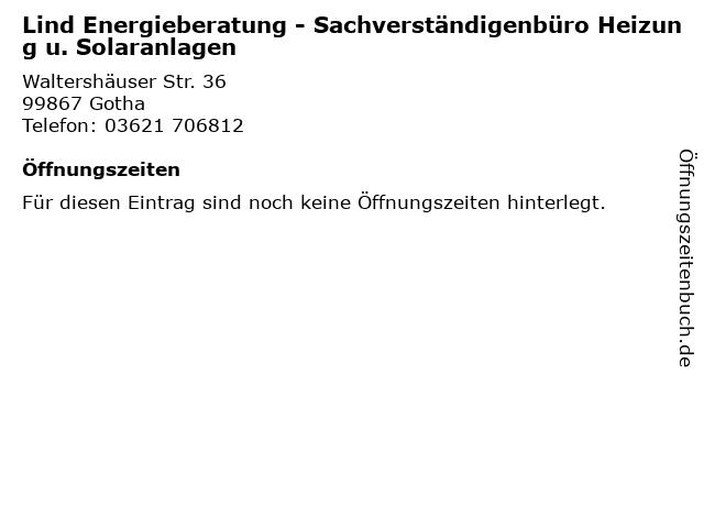 Lind Energieberatung - Sachverständigenbüro Heizung u. Solaranlagen in Gotha: Adresse und Öffnungszeiten