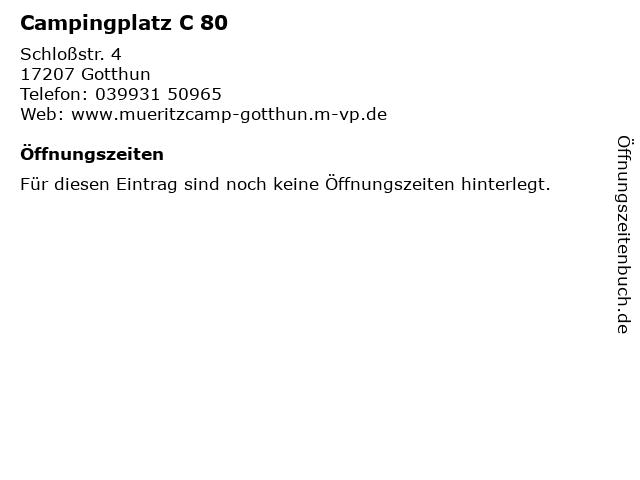 Campingplatz C 80 in Gotthun: Adresse und Öffnungszeiten