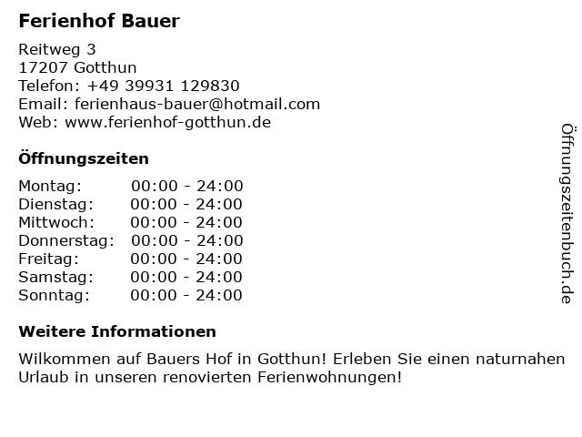 Ferienhof Bauer in Gotthun: Adresse und Öffnungszeiten