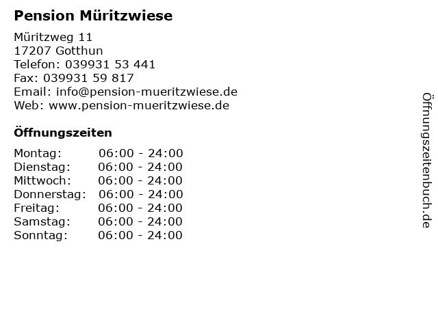 Pension Müritzwiese in Gotthun: Adresse und Öffnungszeiten