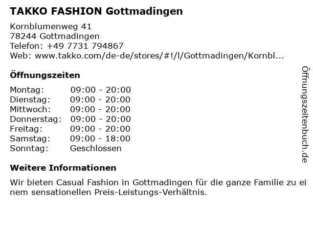 Takko Fashion in Gottmadingen: Adresse und Öffnungszeiten