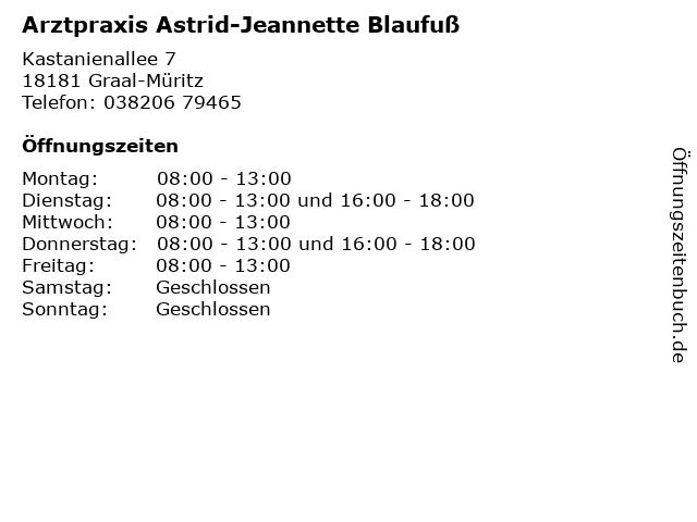 Arztpraxis Astrid-Jeannette Blaufuß in Graal-Müritz: Adresse und Öffnungszeiten