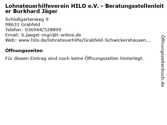 Lohnsteuerhilfeverein HILO e.V. - Beratungsstellenleiter Burkhard Jäger in Grabfeld: Adresse und Öffnungszeiten
