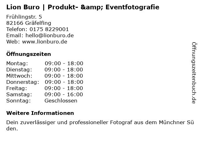 Lion Buro   Produkt- & Eventfotografie in Gräfelfing: Adresse und Öffnungszeiten