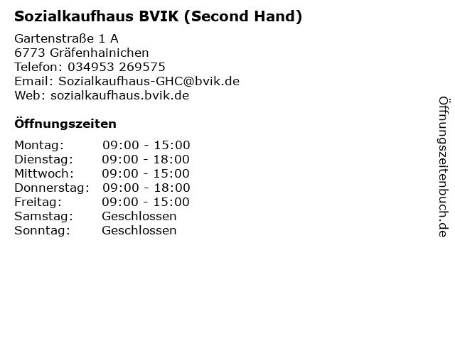 ᐅ öffnungszeiten Sozialkaufhaus Bvik Second Hand Gartenstraße